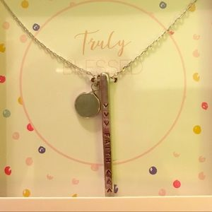 "Truly Blessed ""Faith"" Vertical bar necklace"